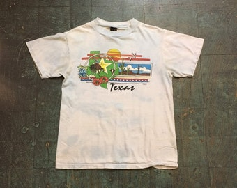 Vintage 80s Texas souvenir tee // ANVIL unisex adult medium M // tie dye crew neck shirt