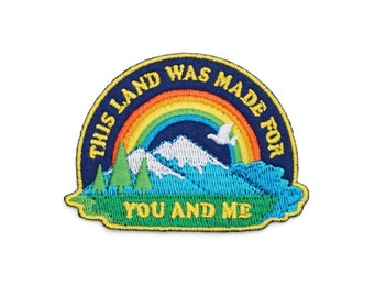 This Land was Made for You and Me Retro Style Iron-on embroidered Patch by Lucky Horse Press // handmade in USA