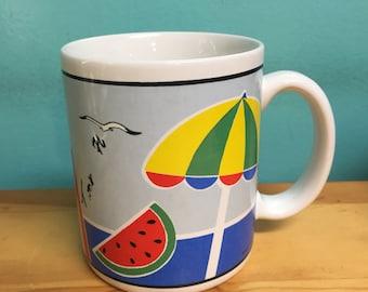 Vintage Florida coast beach coffee tea mug // retro kitsch kitchen home souvenir gift // watermelon umbrella seagull sailboat