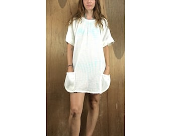 Vintage mesh and terry cloth perforated mini dress beach coverup // tunic jumper festival fashion // size medium M