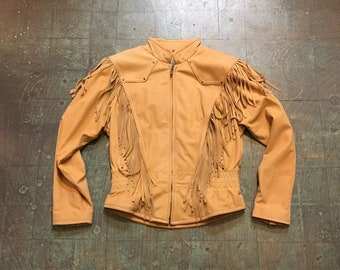 vintage 90s Wilson fringe leather bomber coat jacket // size medium // hippie boho grunge country western cowgirl