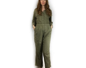 "Vintage 90s ""Tru Supply"" army green two piece mechanic jumpsuit  // playsuit catsuit flight suit pantsuit // size small medium"