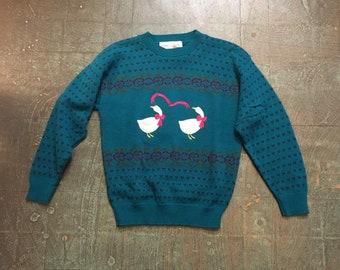 Vintage 80s 90s Ducks pullover knit sweater jumper // unisex  retro granny chic ironic
