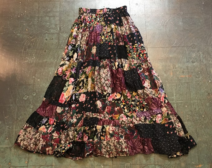 Featured listing image: VIntage 90s floral patchwork gypsy skirt // size small S // distressed shabby chic boho gypsy hippie grunge // fall fashion