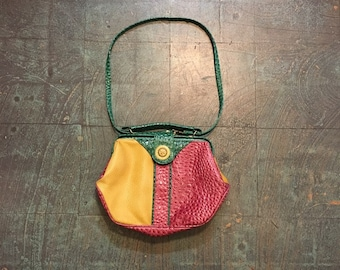 Vintage 80s 90s colorblock  purse cross body shoulder bag convertible handbag // pink yellow green // new wave street style