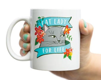 Cat Lady For Life coffee mug by Emily McDowell