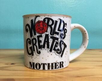Vintage Worlds Greatest Mother coffee mug // retro kitsch // kitchen home goods // Mlthers Day birthday gift under 20