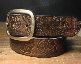Handmade Sugar Skulls Brown Leather Snap Belt with Removable Buckle by Regan Flegan // unisex xs-xxl