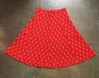 Vintage handmade 50s 60s nautical anchor print skirt // one of a kind oaak // boho prep retro classic