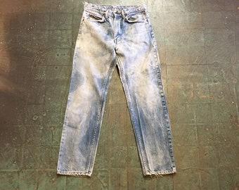 Vintage LEVIS orange tab label acid wash denim // distressed baggy fit unisex // high hi rise waisted boyfriend mom jeans