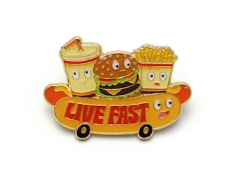 Live Fast Retro Style Enamel pin by Lucky Horse Press // burger fries soda dog fast food