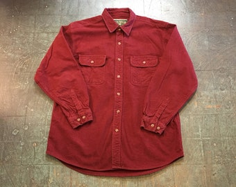Men's vintage 90s Field & Stream chamois long sleeve button up shirt // size XL // fall // hippie  western boho grunge normcore