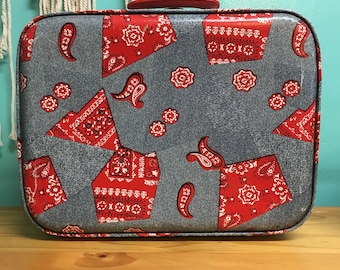 Rare Vintage denim and bandana patchwork print hard Suitcase //  travel bag tote overnight train case // retro rare memorabilia collectible