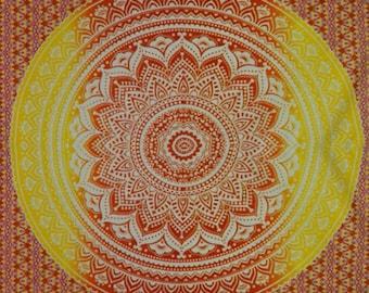 Red Orange ombré mandala tapestry wall hanging // back to school college dorm room
