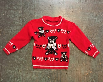 Vintage toddler teddy bear and bow sweater // winter holiday ugly Christmas Xmas