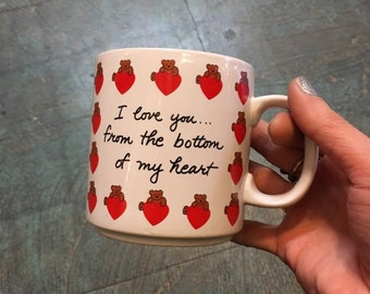 Vintage 80s LOVE mug // coffee tea retro kitsch kitchen home // Russ Berrie Co cute gift