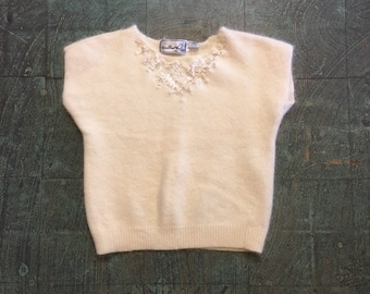 Vintage retro 90s fuzzy cropped pullover short sleeve sweater // size large L // lambs wool angora lace // clueless 90210