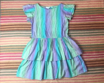 Vintage 80s drop tiered ruffle skirt mini dress by Periwinkle // size small // retro new wave back to school