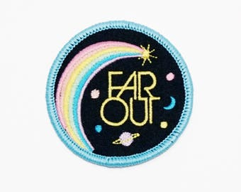 Far Out Retro Style Iron-on embroidered Patch by Lucky Horse Press // handmade in USA