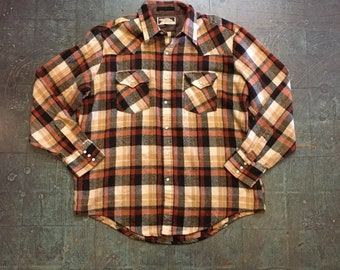 Vintage Artic Circle pearl snap western style flannel shirt // unisex fall winter