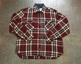 Vintage Arrow sportswear plaid flannel Oxford button up // size L large // lumberjack cowboy boho hippie indie rocker // unisex