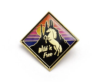 Wild n Free Retro Style Enamel pin by Lucky Horse Press // horse desert sunset