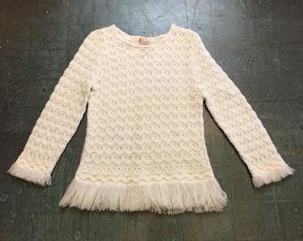 Vintage 60s 70s open knit crochet fringe sweater top // boho hippie retro flower child // fall winter