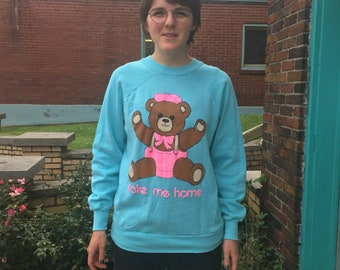 """Vintage 80s """"Take Me Home"""" teddy bear  pullover sweatshirt // size XL // made in usa // unisex retro long sleeve"""