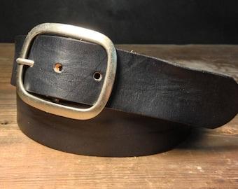 Handmade Black Leather Snap Belt with Removable Buckle by Regan Flegan // unisex xs-xxl