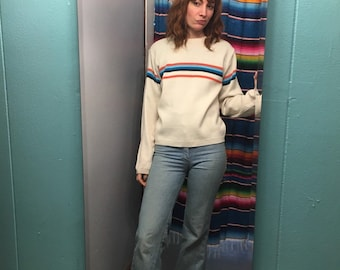 Vintage 90s Twenty Six Red Sugar knit striped pullover sweater // Size small S // Retro delias style // prep street style grunge normcore