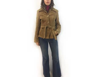 vintage 70s 80s suede leather blazer jacket // size 13/14