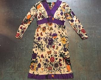 Vintage 60s 70s dress // mod retro flower and butterfly print // size 14 // boho hippie rocker folk festival // Union made USA