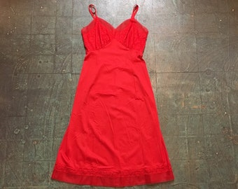 Vintage 50s 60s Van Raalte red slip dress  // size 32 small  // boho hippie festival grunge classic formal prom