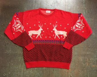 Vintage 80s 90s pullover knit sweater jumper // unisex size large // retro ugly christmas winter holiday