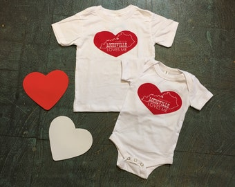 Somebody in Louisville Loves Me // toddler tees and baby Onesies // handmade in USA