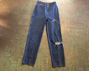 Vintage 70s 80s jeans by ww&co  // size 10 small medium // ultra high hi rise waisted distressed // navy sailor style