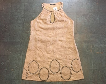 Preloved 60s style embroidered tent dress pinafore jumper by THEME // size medium