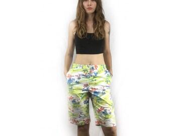 Vintage Funky Printed Tropical Bermuda Shorts // 90s IZOD // size 8 Chino Unisex Hawaiian