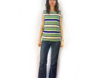 Vintage retro unisex 50s 60s striped sleevless top