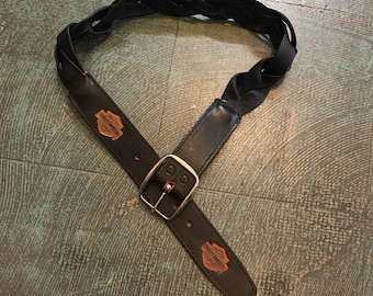 Vintage 90s Harley Davidson braided black leather belt // Unisex size small // western motorcycle grunge rocker biker  gypsy festival
