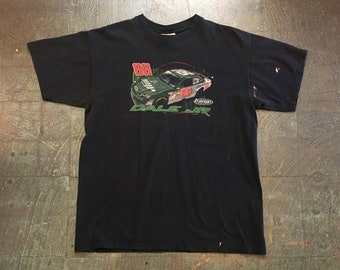 Vintage 88 Dale Earnhardt Jr. NASCAR Amp graphic tee // mens retro short sleeve black t-shirt // large // hipster rocker grunge