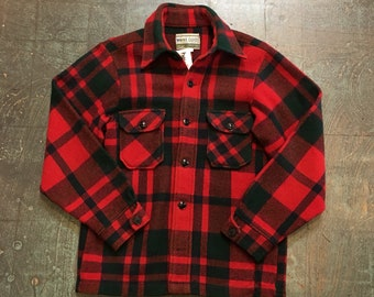 Mens vintage Wool blend plaid flannel Oxford button up shirt jacket // size small S // Unisex Maine Guide Outerwear