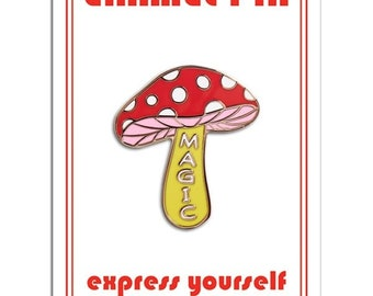 Magic Mushroom Retro Style Enamel pin by The Found