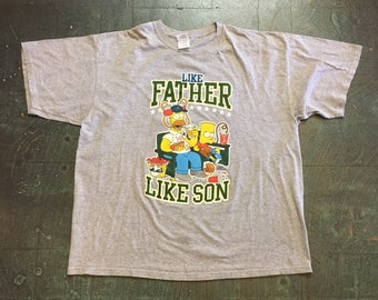 "Preloved ""the Simpsons"" tee // unisex XL Xlarge short sleeve t-shirt// Father's Day // Matt Groening // father son gift homer Bart Simpson"