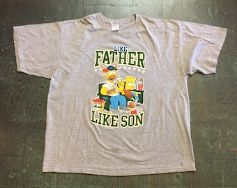 """Preloved """"the Simpsons"""" tee // unisex XL Xlarge short sleeve t-shirt// Father's Day // Matt Groening // father son gift homer Bart Simpson"""