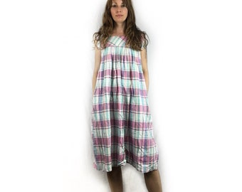 Vintage 90s plaid cotton baby doll midi dress // size small // boho hippie grunge granny festival beach wear