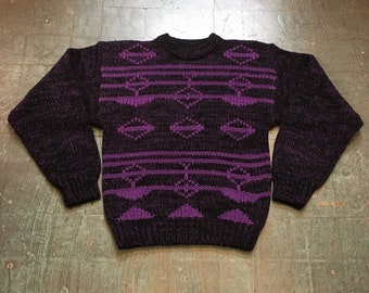 Vintage 80s 90s chunky knit pullover sweater jumper // size large // retro winter holiday