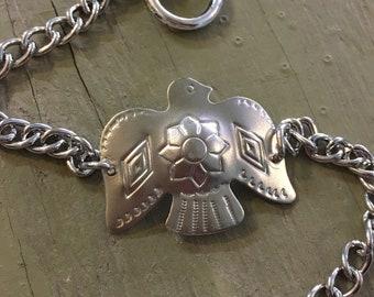 Thunderbird stacking bracelet cuff // handmade in USA // unique statement piece // vintage style silver plated brass // boho southwestern