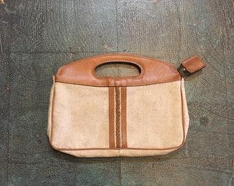 Vintage 70s 80s neutral tweed clutch handbag // boho hippie minimalist
