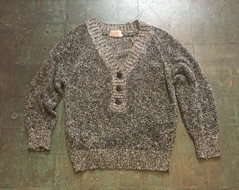 Vintage 80s 90s oversized marled Galaxy knit pullover  // size medium M // retro black and white